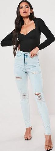 Tall Blue Highwaisted Acid Wash Ripped Skinny Jeans