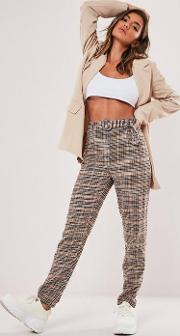 Tall Brown Heritage Check Cigarette Trousers