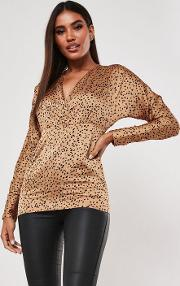 Tall Gold Spot Detail Long Sleeve Plunge Blouse