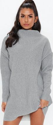 Tall Grey Oversized Funnel Neck Sweater Dress