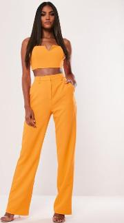 Tall Neon Orange Co Ord Straight Leg Trousers