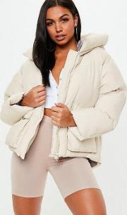 Tall Nude Oversized Hooded Ultimate Puffer Jacket