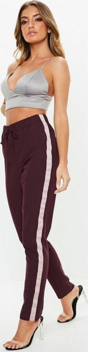 Tall Plum Side Stripe Crepe Trousers