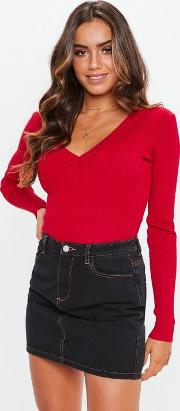 Tall Red Ultimate Plunge Knitted Bodysuit