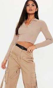 Tan Collared Button Knitted Crop Top