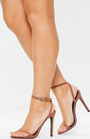 Tan Pointed Barely There Heels