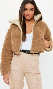 Tan Reversible Crop Borg Puffer Jacket