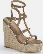 Taupe Dome Stud Wedges