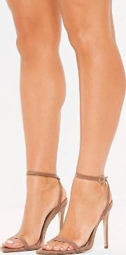 Taupe Slanted Toe Barely There Heels