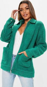 Teal Oversized Borg Zip Through Teddy Jacket