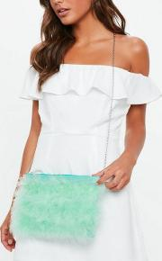 Turquoise Feather Zip Top Clutch Bag
