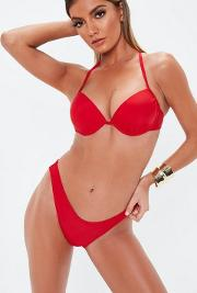 Underwired Push Up Bikini Top In Red Mix & Match