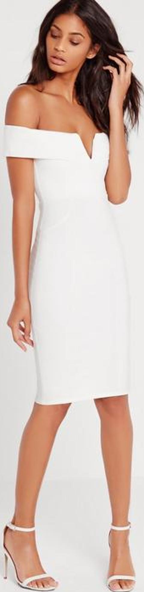 51d32416078d missguided V Front Bardot Midi Dress White | Obsessory