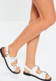 White Double Buckle Studded Sandals