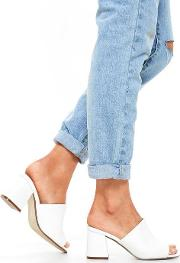 White Faux Suede Mid Flared Heel Peep Toe Mules