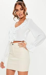 White Ruffle Front Crop Blouse