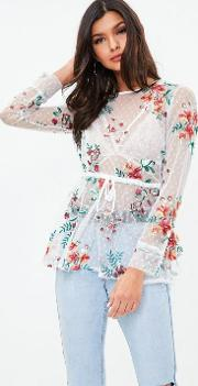 White Sheer Embroidered Blouse