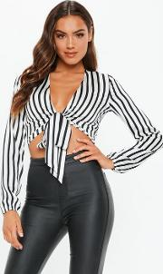 White Stripe Tie Front Satin Crop Top