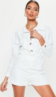 White Utility Frill Waist Button Playsuit