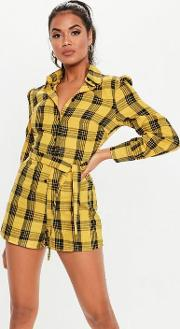Yellow Check Long Sleeve Playsuit