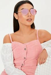Quay Australia Just Sayin Gold Pink Sunglasses