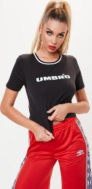 Umbro X Missguided Black Crop Stripe Collar T Shirt