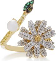 18k Gold And White Gold Vermeil Daisy Multi Stone Ring