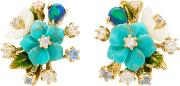 18k Gold Vermeil Diamond And Turquoise Bouquet Earrings