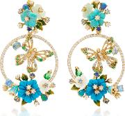 18k Gold Vermeil Turquoise Butterfly Wreath Earrings