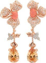 18k Rose Gold Orchid Citrine And  Earrings