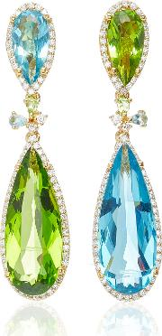 Mini Aqua Papillon 18k Gold Vermeil Diamond Earrings
