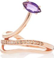 Gloriosa Lily 9k Rose Gold Amethyst And Diamond Ring