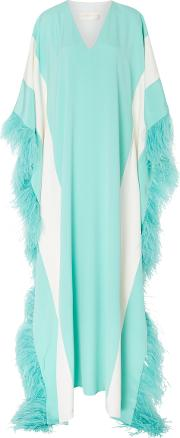 M'o Exclusive V Neck Caftan With Feathers