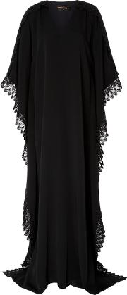M'o Exclusive V Neck Caftan With Lace Detail