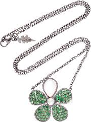Colette Jewelry Flower 18k Black Gold Tsavorite And Moonstone Necklace
