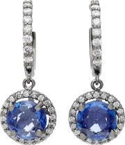 Planet 18k White Gold Diamond And Sapphire Earrings