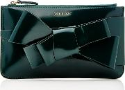M'o Exclusive Bow Embellished Patent Leather Clutch