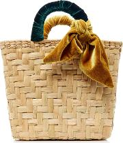 M'o Exclusive Donni Straw And Velvet Basket Bag