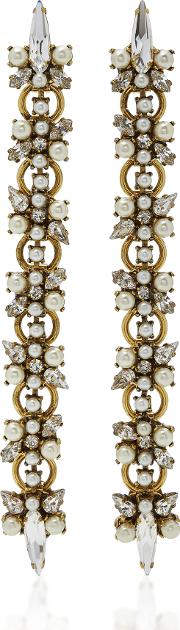 Dancing Queen 24k Gold Plated Crystal And Pearl Earrings