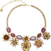 Erickson Beamon 24k Gold Plated Vermeil Swarovski Crystal And Pearl Necklace