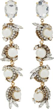 Erickson Beamon Delicate Balance 24k Gold Plated Crystal And Pearl Earrings