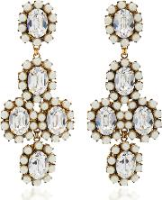 Erickson Beamon Funhouse 24k Gold Plated Crystal And Pearl Earrings