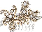 My One And Only 24k Gold Plated Crystal And Pearl Hair Comb