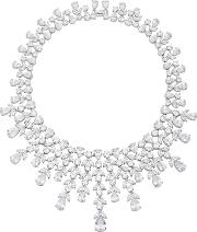 Fallon Monarch Elizabeth Bib Rhodium And Crystal Necklace