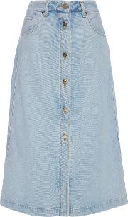Goldsign Button Front Original Denim Skirt