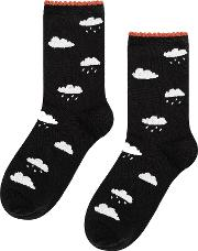 Hansel From Basel Cloudy With A Chance Of Rain Cotton Blend Socks