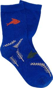 Hansel From Basel Under The Sea Crew Cotton Blend Socks