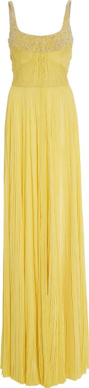 Strapless Pleated Embellished Gown