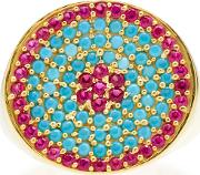 Gold Plated Ruby And Turquoise Tribal Pinky Ring