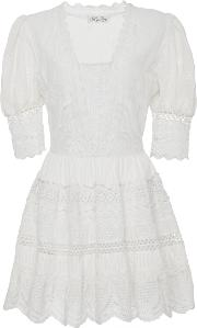 Kristen Lace Embroidered Mini Eyelet Dress